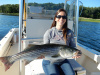Trish with her live lined striper